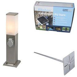 Lampa zewnętrzna stal 45cm ip44 z gniazdem, klinem i mufą kablową - malios marki Qazqa