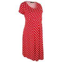 Sukienka ciążowa, krótki rękaw bonprix truskawkowo-biały w groszki, w 8 rozmiarach