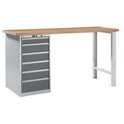 Stół roboczy kompletny, blat roboczy z multipleksu bukowego,wys. 1040 mm, szafka dolna, 6 szuflady marki Lis