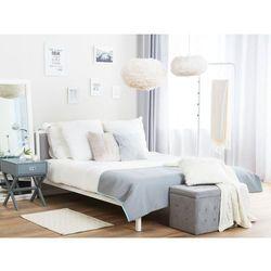Metalowe białe łóżko z szarym wezgłowiem i stelażem 160 x 200 cm CLAMART, kolor biały