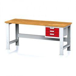 B2b partner Stół warsztatowy mechanic, 2000x700x700-1055 mm, nogi regulowane, 1x szufladowy kontener, 3 szuflady, czerwone