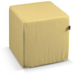 Dekoria Pufa kostka twarda, piaskowo-żółty sztruks, 40x40x40 cm, Manchester