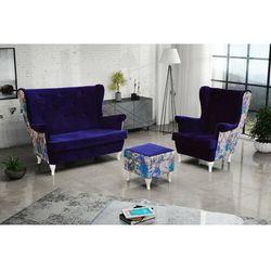 """Zestaw """"RIKI"""" sofa + fotel+podnóżek - śliwka"""