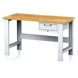 B2b partner Stół warsztatowy mechanic, 1500x700x700-1055 mm, nogi regulowane, 1x szufladowy kontener, 1x szuflada, szara