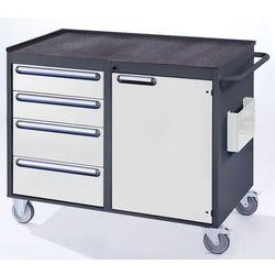 Stół warsztatowy, ruchomy,4 szuflady, 1 drzwi, półka metalowa z matą gumową