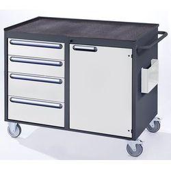 Stół warsztatowy, ruchomy, 4 szuflady, 1 drzwi, półka metalowa z matą gumową, an