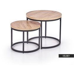 SELSEY Zestaw stolików kawowych Yese o średnicy 53cm i 43 cm dąb san remo - czarny (5903025275253)
