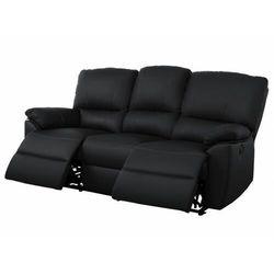 3-osobowa skórzana sofa z elektrycznie regulowaną funkcją relaks MARCIS - Czarny, kolor czarny