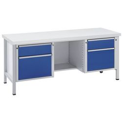 Stół warsztatowy, stabilny, szuflady 2x180 mm, 2x360 mm, ½ półki, blat uniwersal
