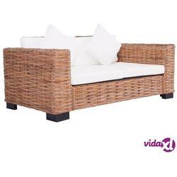 vidaXL 2-osobowa sofa ogrodowa, z naturalnego rattanu