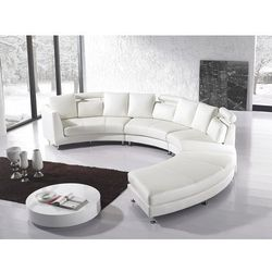 Sofa skórzana biala, pólokragla - ROTUNDE - oferta [35564370476572cb]