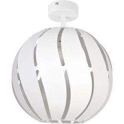 Sigma Plafon lampa sufitowa globus skos 31314 ażurowa oprawa metalowa kula ball z wycięciami biała