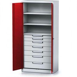 Szafa warsztatowa mechanic, 1950 x 920 x 500 mm, 3 półki, 7 szuflad, czerwone drzwi marki Alfa 3
