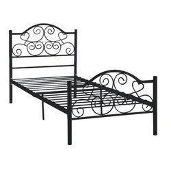 Łóżko LEYNA - 90 × 190 cm - Metal - Czarny