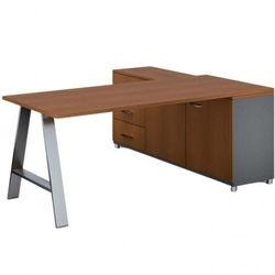 Biurowy stół roboczy ALFA A z szafką po lewej, blat 1800 x 800 mm, czereśnia
