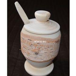 Pojemnik drewniany - cukiernica na nóżce z łyżeczką (z korą) marki Rękodzielnik
