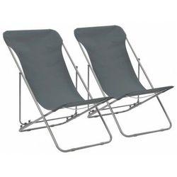 vidaXL Składane krzesła plażowe, 2 szt., stal i tkanina Oxford, szare