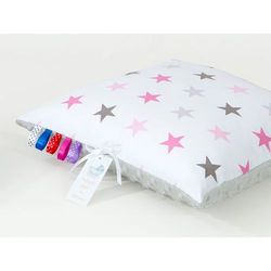 poduszka minky dwustronna 40x40 gwiazdki szare i różowe d / jasny szary marki Mamo-tato