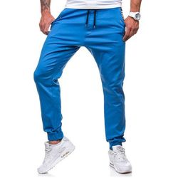 Niebieskie spodnie joggery męskie Denley 0449-1 - NIEBIESKI