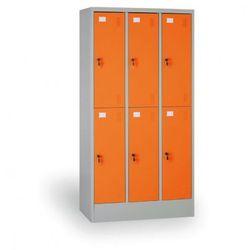 Szafka ubraniowa, 6 schowków, drzwi pomarańczowe, zamek cylindryczny marki B2b partner