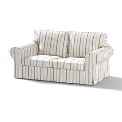 pokrowiec na sofę ektorp 2-osobową, nierozkładaną, ecru tło, niebieskie paski, sofa ektorp 2-osobowa, avinon marki Dekoria