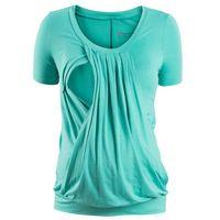 Shirt ciążowy i do karmienia, krótki rękaw bonprix zielony oceaniczny, kolor zielony