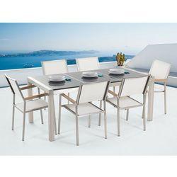 Beliani Meble ogrodowe - stół granitowy 180 cm szary polerowany z 6 białymi krzesłami - grosseto (7081455175263)