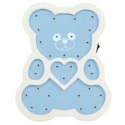 Polux Lampka dziecięca miś niebieska drewniana na baterie led (5901508310651)