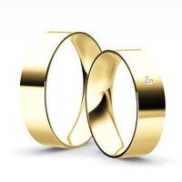 Klasyczne obrączki płaskie z brylantem model Z36L2 (komplet) - produkt z kategorii- Obrączki ślubne