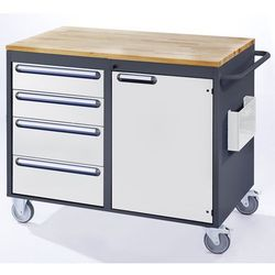Stół warsztatowy, ruchomy, 4 szuflady, 1 drzwi, blat roboczy z drewna, antracyto marki Rau