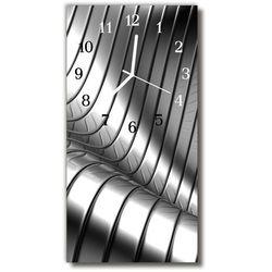Zegar szklany pionowy metal fala metalowy srebrny marki Tulup.pl