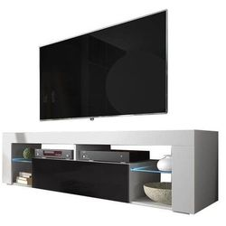 Szafka RTV EVEREST 140cm biały mat/czarny wysoki połysk (5903018218076)