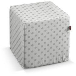 pufa kostka twarda, szare kropki na białym tle, 40 × 40 × 40 cm, ashley marki Dekoria