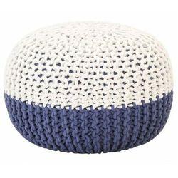 Biało-niebieska pufa bawełniana okrągła - Iwor, vidaxl_287597