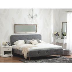 Łóżko tapicerowane jasnoszare ze stelażem 140 x 200 cm RENNES (7105278310981)