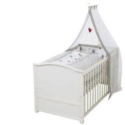 Drewniane łóżko rosnące z dzieckiem z baldachimem i kompletem pościeli FANNY - 70 × 140 cm - kolor biał