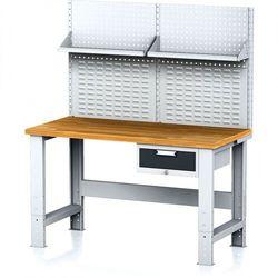 B2b partner Stół warsztatowy mechanic z nadstawką i półką, 1500x700x700-1055 mm, nogi regulowane, 1x 1 szufladowy kontener, szary/antracyt