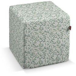 Dekoria  pufa kostka twarda, zielona jemioła na białym tle, 40x40x40 cm, norge