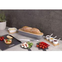 Chlebak z deską do krojenia, bambus, 2w1 + nóż do krojenia chleba - kolor szary marki Eh excellent houseware