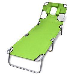 Vidaxl składany leżak z podgłówkiem i regulowanym oparciem, zielony (8718475910480)