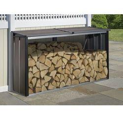 Stalowa drewutnia ogrodowa firewood 2,4 x 0,6 m mocha marki Arrow