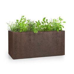 solid grow rust, pojemnik na rośliny, 80 x 38 x 38 cm, fibreclay, kolor rdzawy marki Blumfeldt