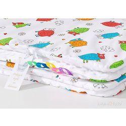 komplet kocyk minky 75x100 + poduszka szalone owieczki białe / biały marki Mamo-tato