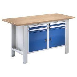 Quipo Stół warsztatowy, szer. blatu 1500 mm, blat z multipleksu, 4 szuflady, 2 drzwi.