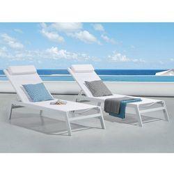 Leżak ogrodowy biały - plażowy - basenowy - CATANIA II (7081459122904)