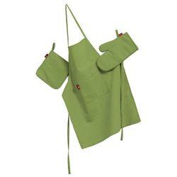 komplet kuchenny fartuch,rękawica i łapacz, zielony, kpl, quadro, marki Dekoria