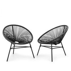 Blumfeldt las brisas chairs fotel ogrodowy zestaw 2 sztuk styl retro plecionka 4 mm, czarny