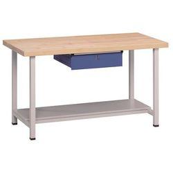 Stół warsztatowy, stabilny, 1 szuflada, 1 półka, szer. 1500 mm, blat z litego dr marki Anke werkbänke - a