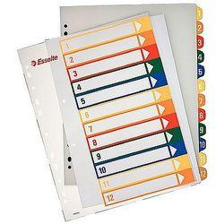 Przekładki plastikowe A4 Maxi do nadruku 1-12 Esselte 100214