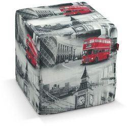 Dekoria  pokrowiec na pufę kostke, szare motywy londynu, kostka 40x40x40 cm, comics